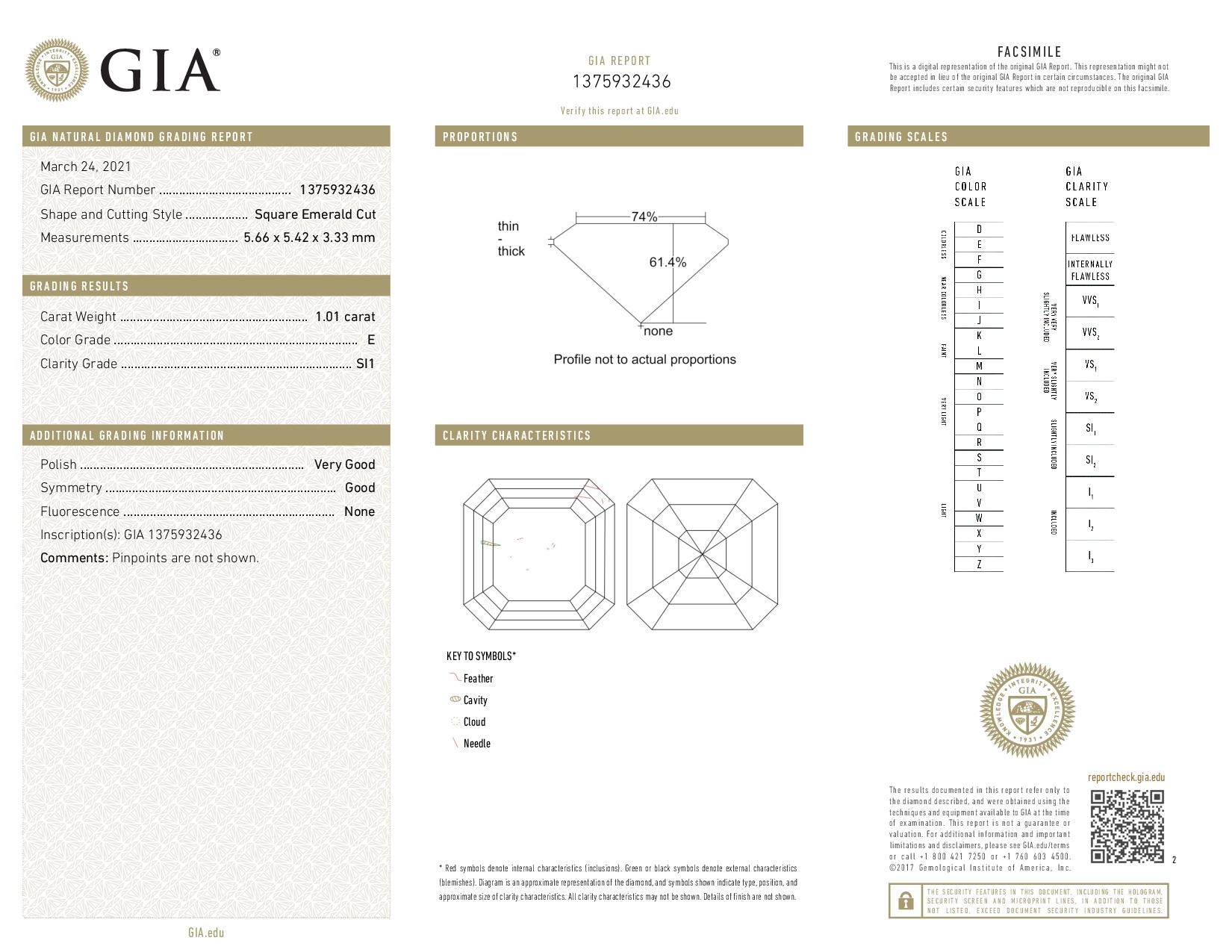 This is a 1.01 carat asscher shape, E color, SI1 clarity natural diamond accompanied by a GIA grading report.