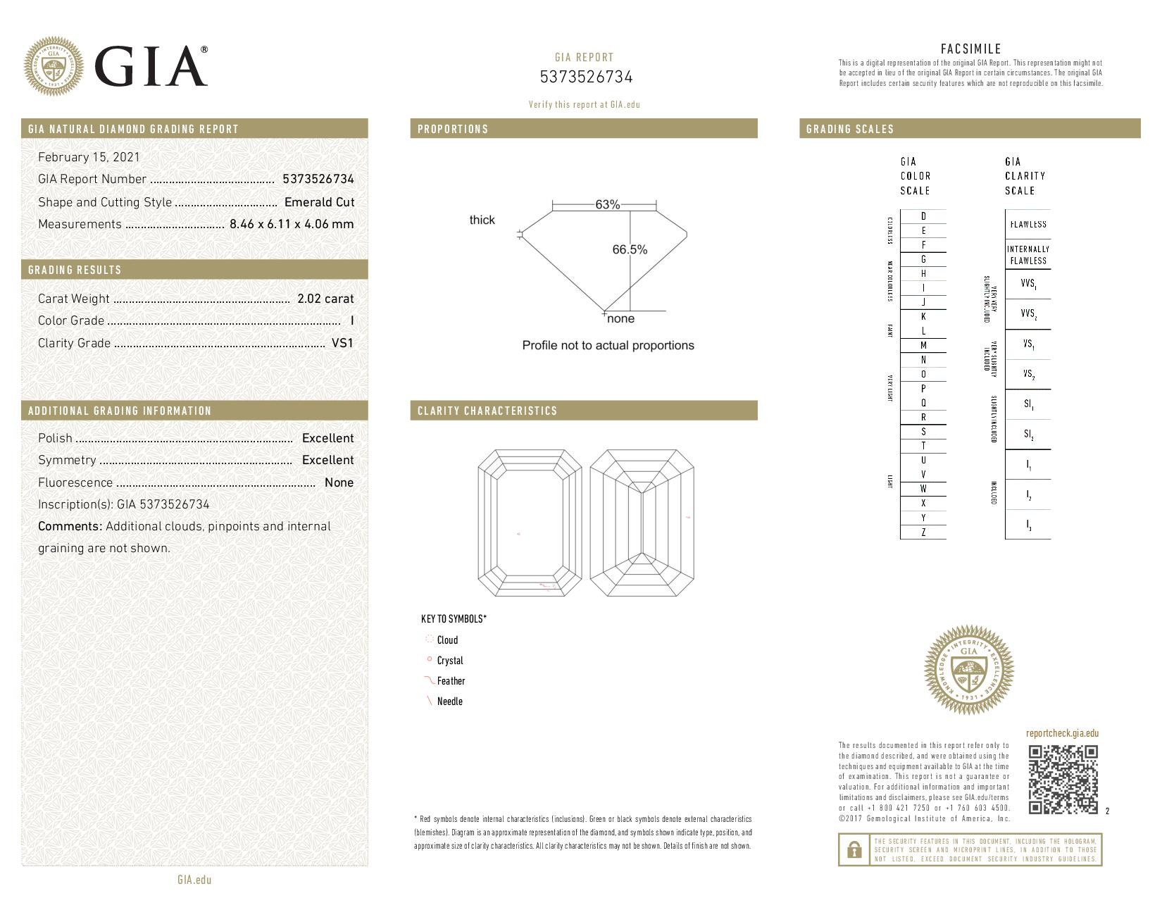 This is a 2.02 carat emerald shape, I color, VS1 clarity natural diamond accompanied by a GIA grading report.