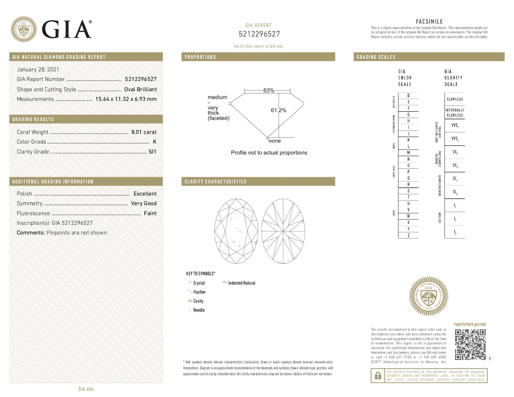 This is a 8.01 carat oval shape, K color, SI1 clarity natural diamond accompanied by a GIA grading report.