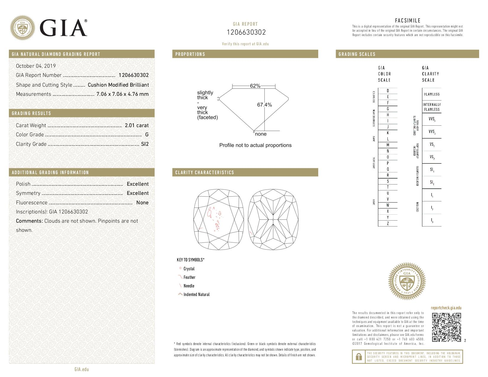 This is a 2.01 carat cushion shape, G color, SI2 clarity natural diamond accompanied by a GIA grading report.