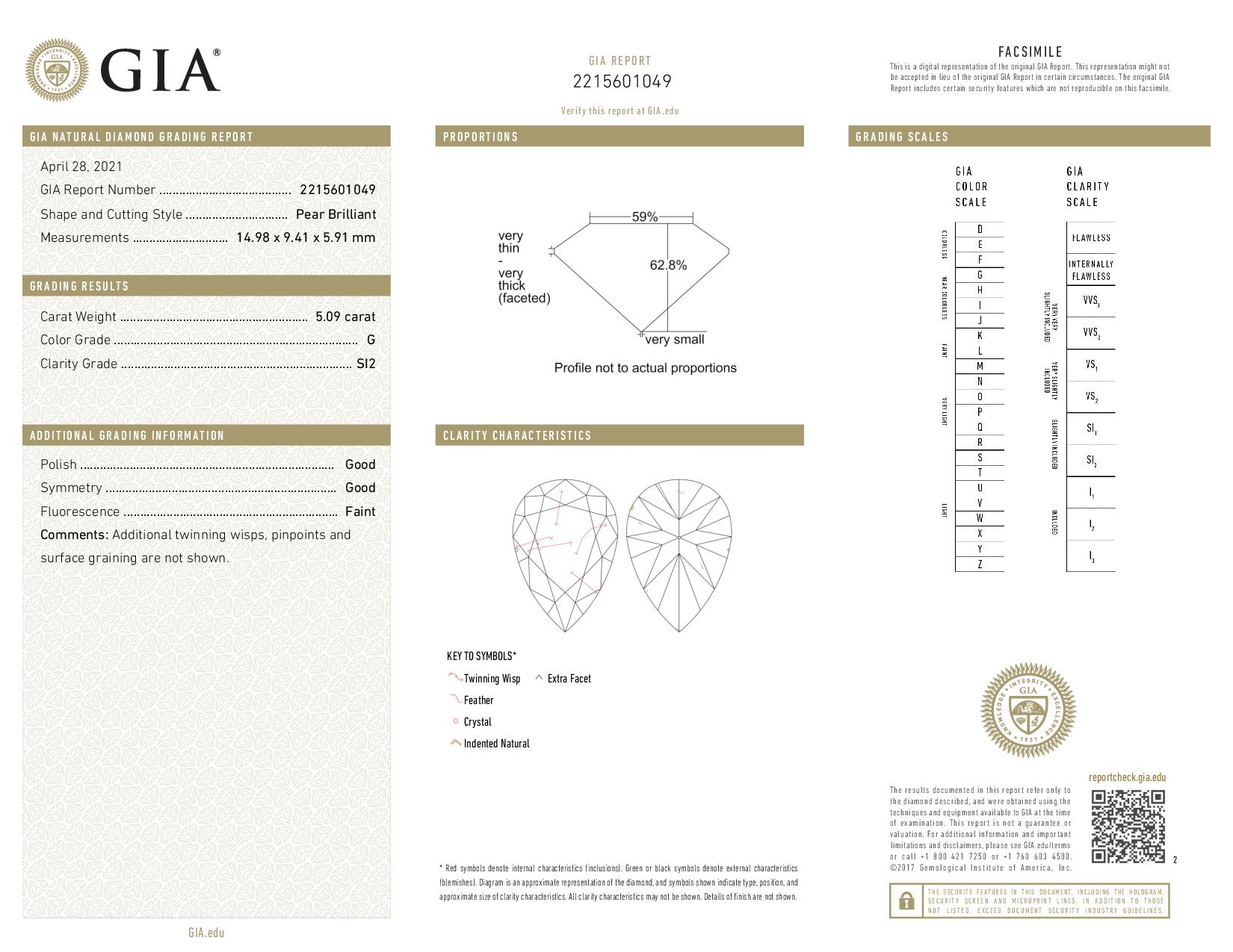 This is a 5.09 carat pear shape, G color, SI2 clarity natural diamond accompanied by a GIA grading report.