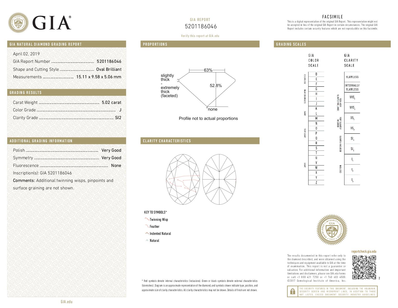 This is a 5.02 carat oval shape, J color, SI2 clarity natural diamond accompanied by a GIA grading report.