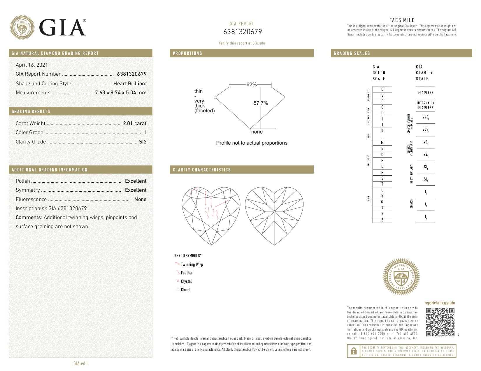 This is a 2.01 carat heart shape, I color, SI2 clarity natural diamond accompanied by a GIA grading report.