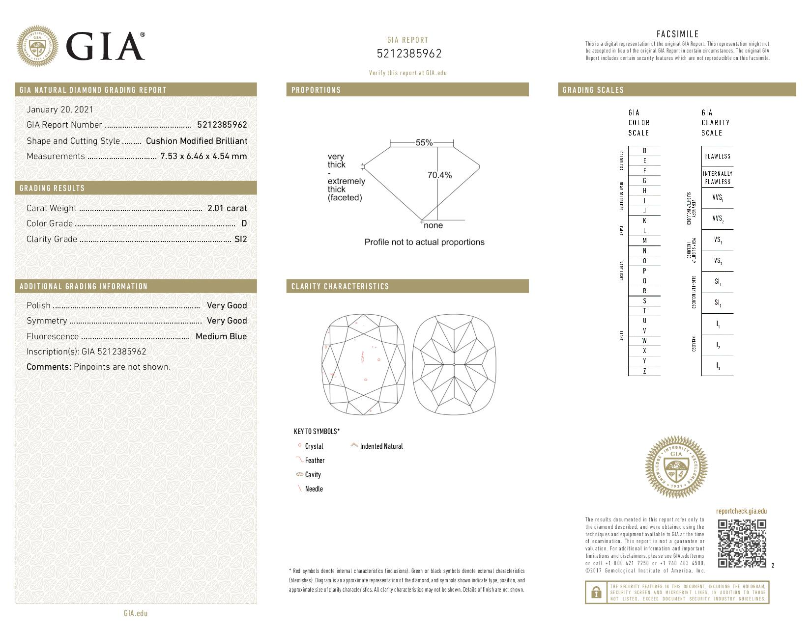 This is a 2.01 carat cushion shape, D color, SI2 clarity natural diamond accompanied by a GIA grading report.