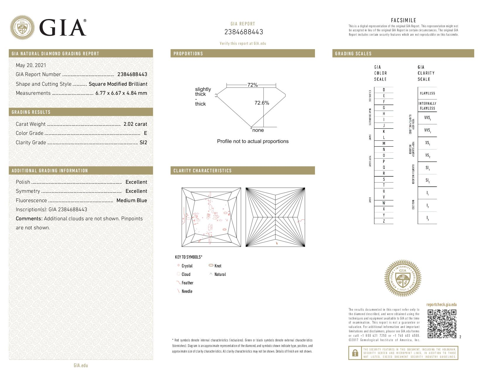 This is a 2.02 carat princess shape, E color, SI2 clarity natural diamond accompanied by a GIA grading report.