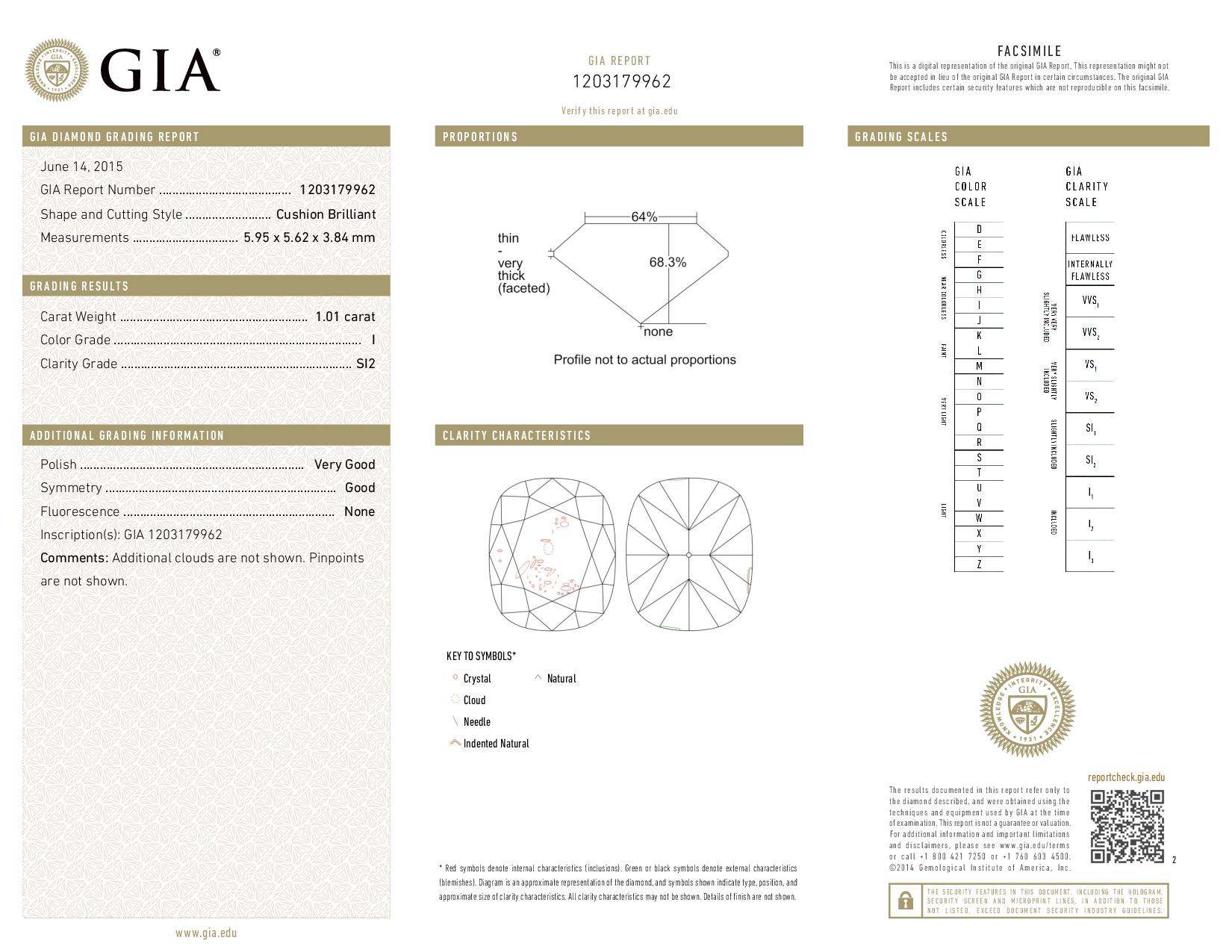 This is a 1.01 carat cushion shape, I color, SI2 clarity natural diamond accompanied by a GIA grading report.