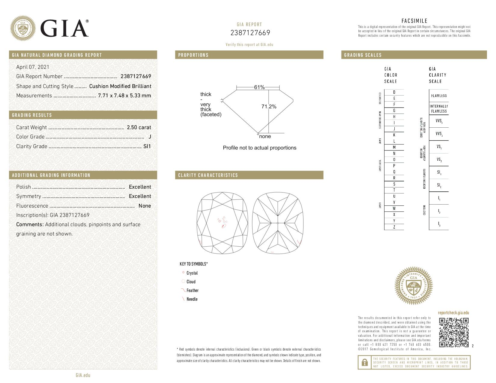 This is a 2.50 carat cushion shape, J color, SI1 clarity natural diamond accompanied by a GIA grading report.