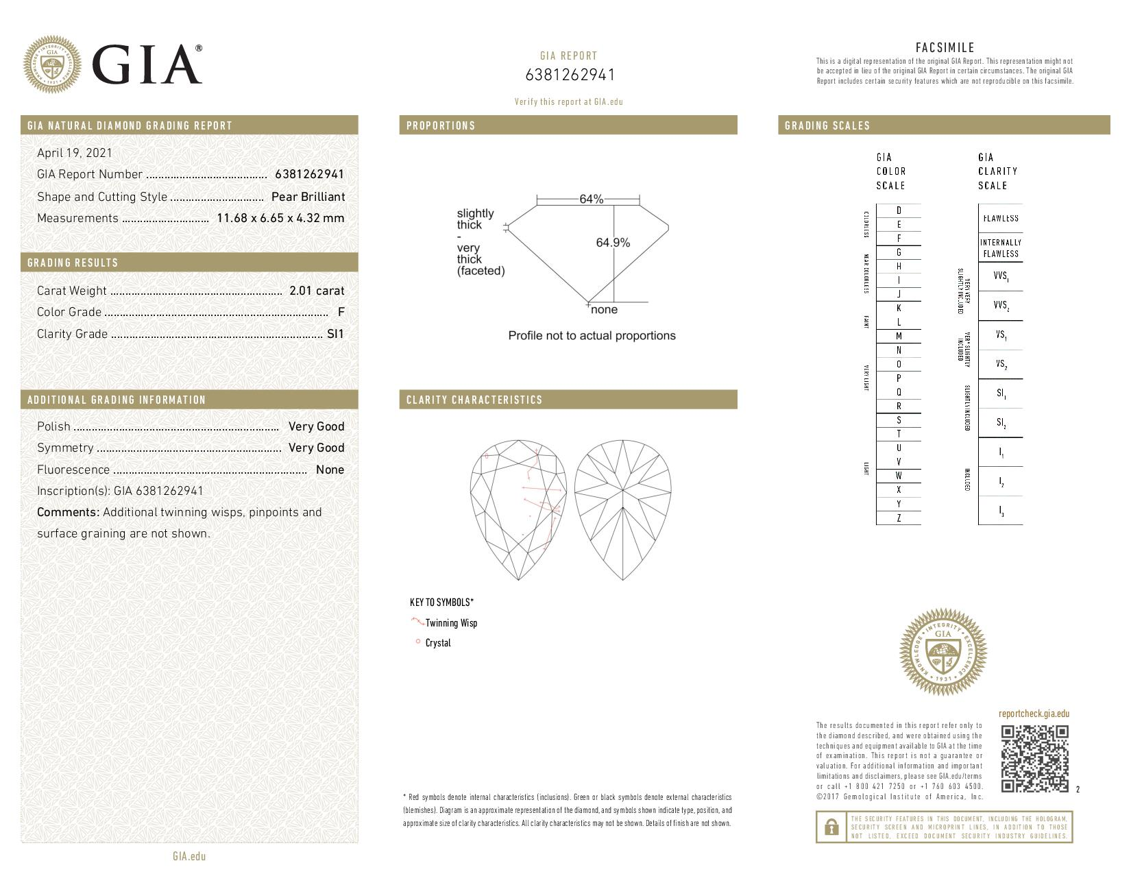 This is a 2.01 carat pear shape, F color, SI1 clarity natural diamond accompanied by a GIA grading report.
