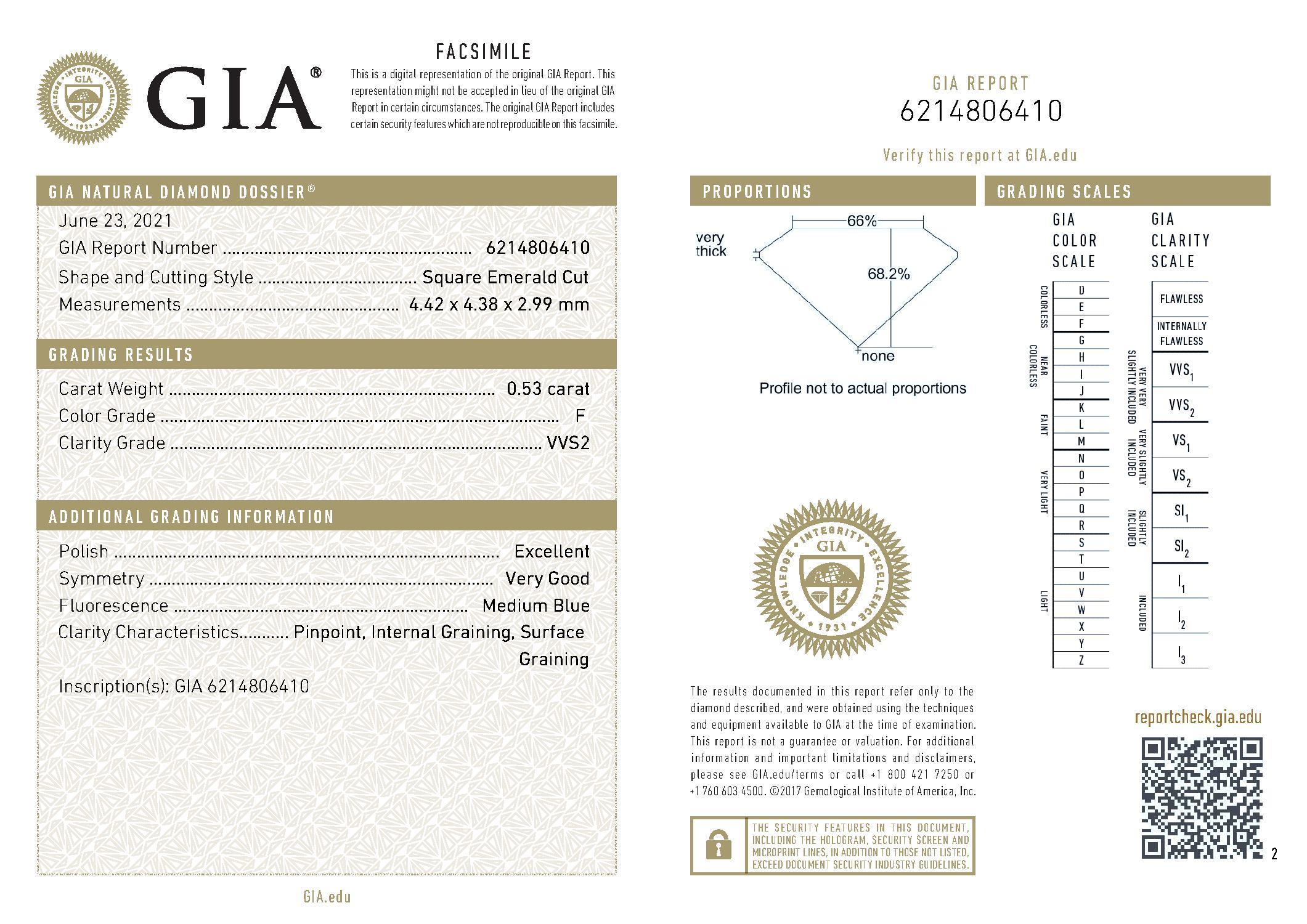 This is a 0.53 carat asscher shape, F color, VVS2 clarity natural diamond accompanied by a GIA grading report.