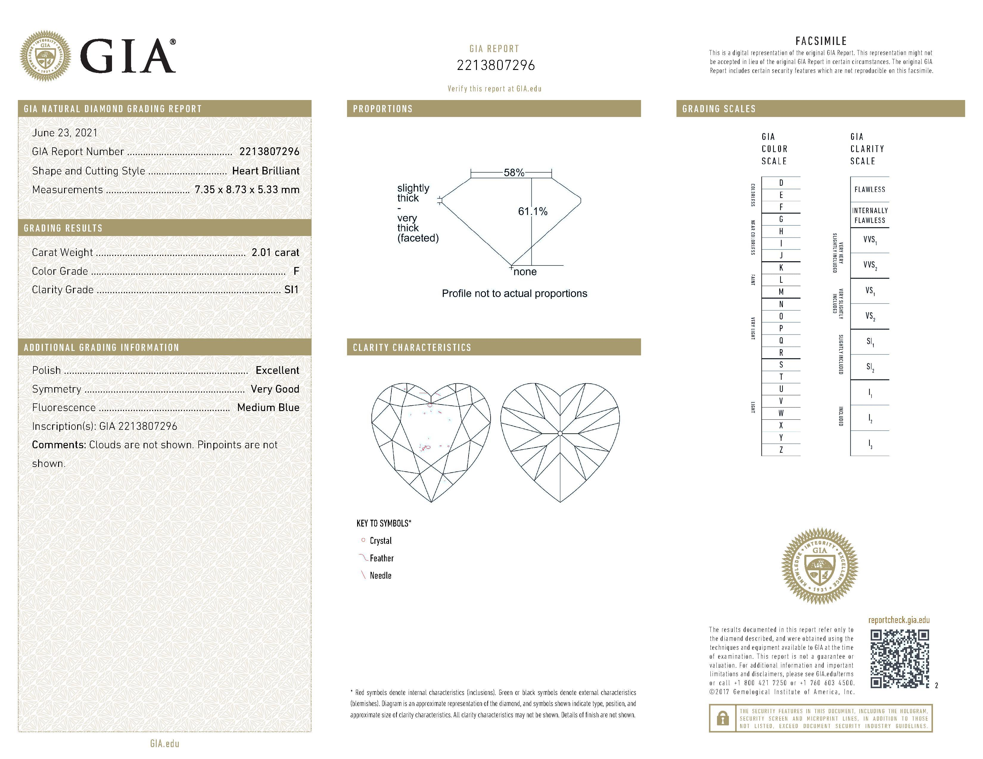 This is a 2.01 carat heart shape, F color, SI1 clarity natural diamond accompanied by a GIA grading report.