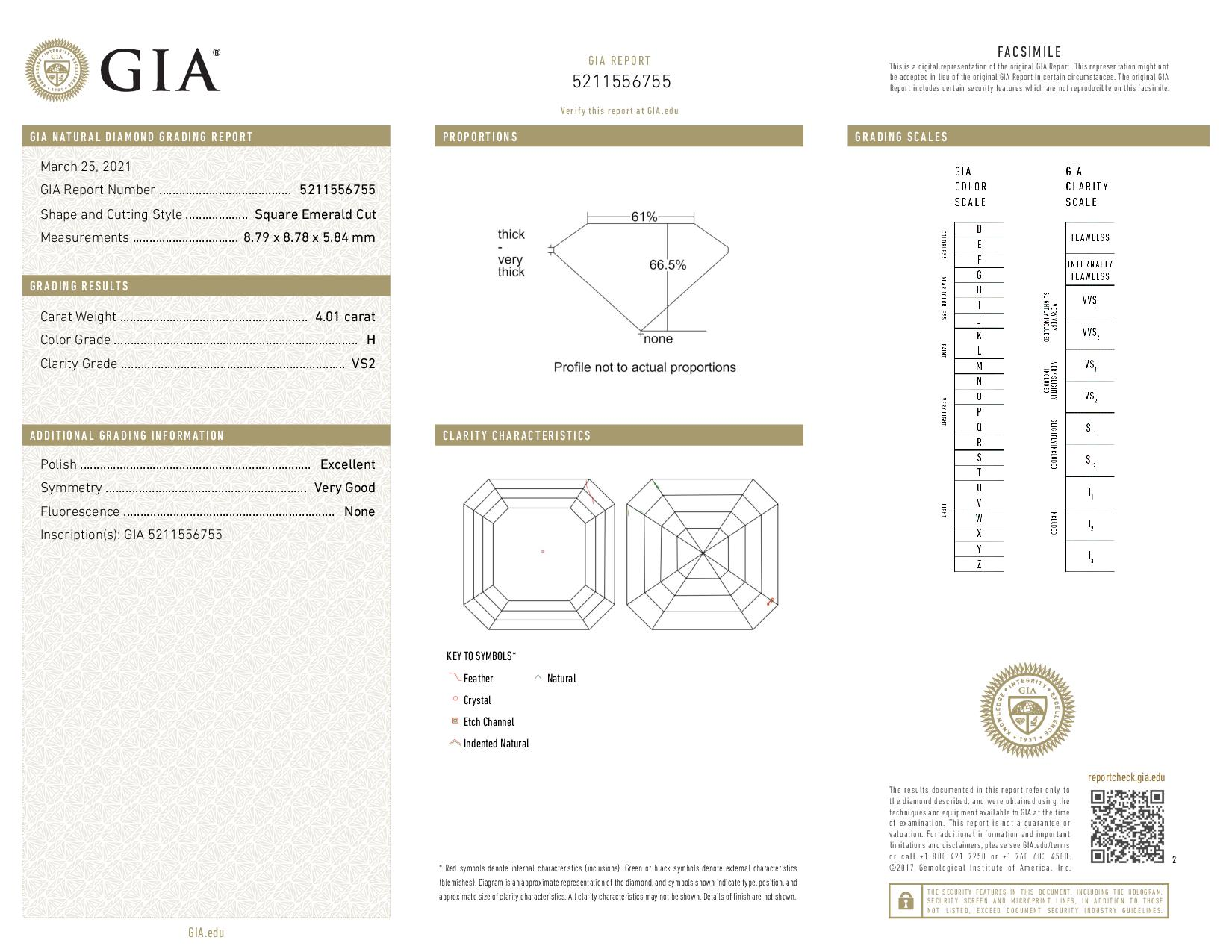 This is a 4.01 carat asscher shape, H color, VS2 clarity natural diamond accompanied by a GIA grading report.