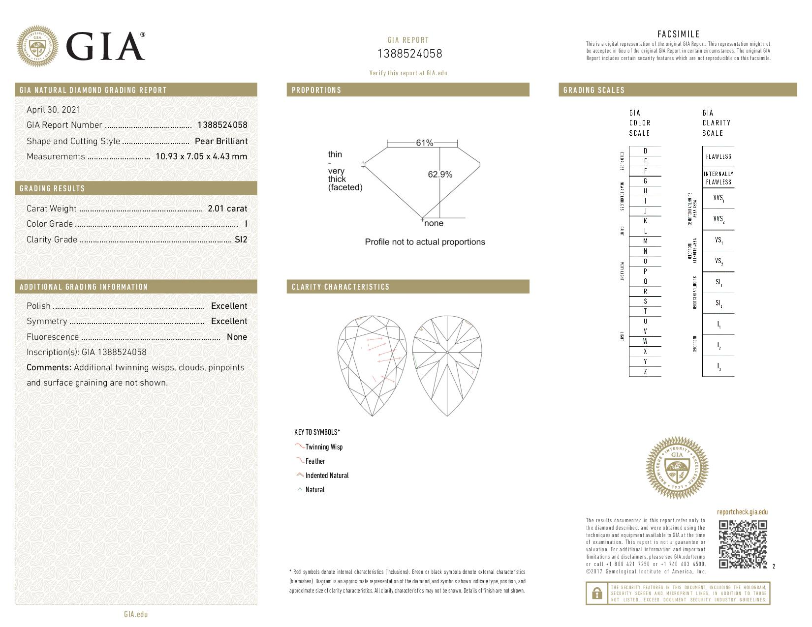 This is a 2.01 carat pear shape, I color, SI2 clarity natural diamond accompanied by a GIA grading report.