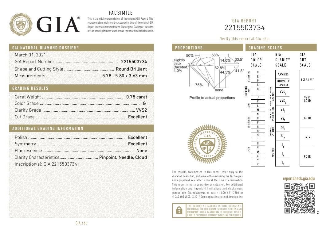 This is a 0.75 carat round shape, G color, VVS2 clarity natural diamond accompanied by a GIA grading report.