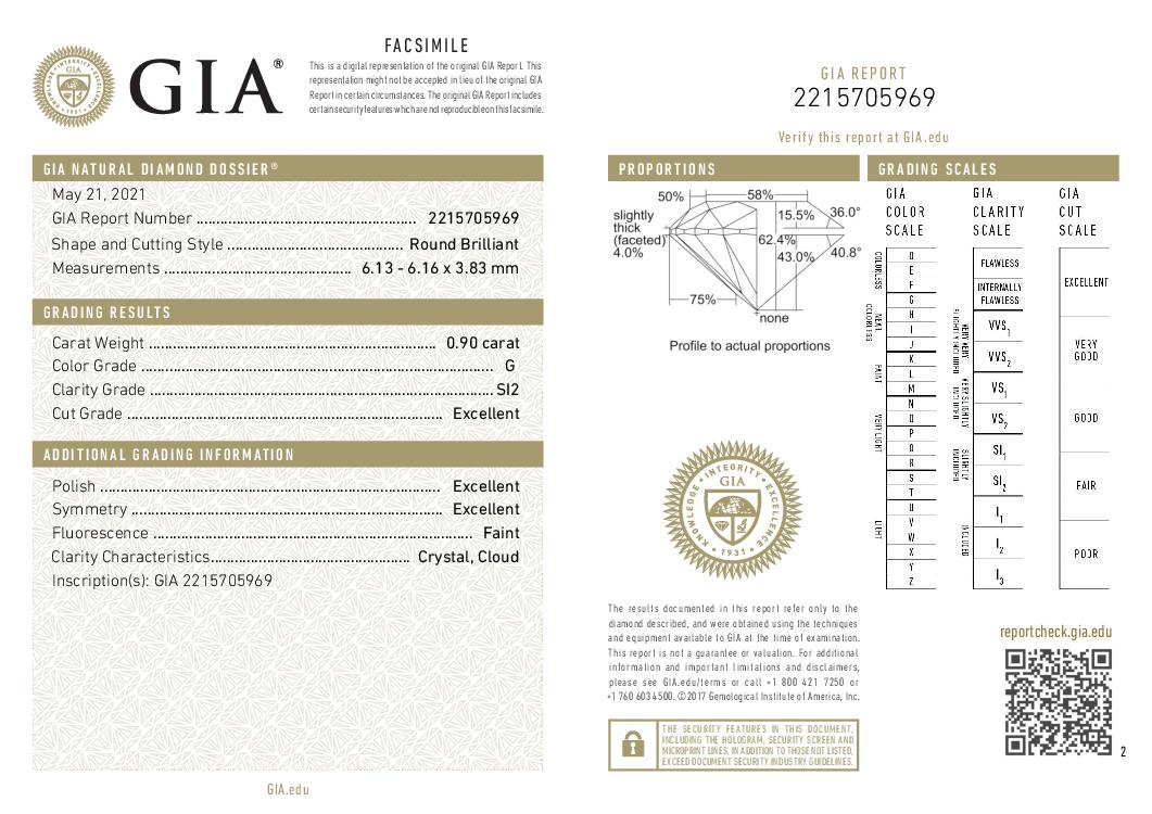 This is a 0.90 carat round shape, G color, SI2 clarity natural diamond accompanied by a GIA grading report.