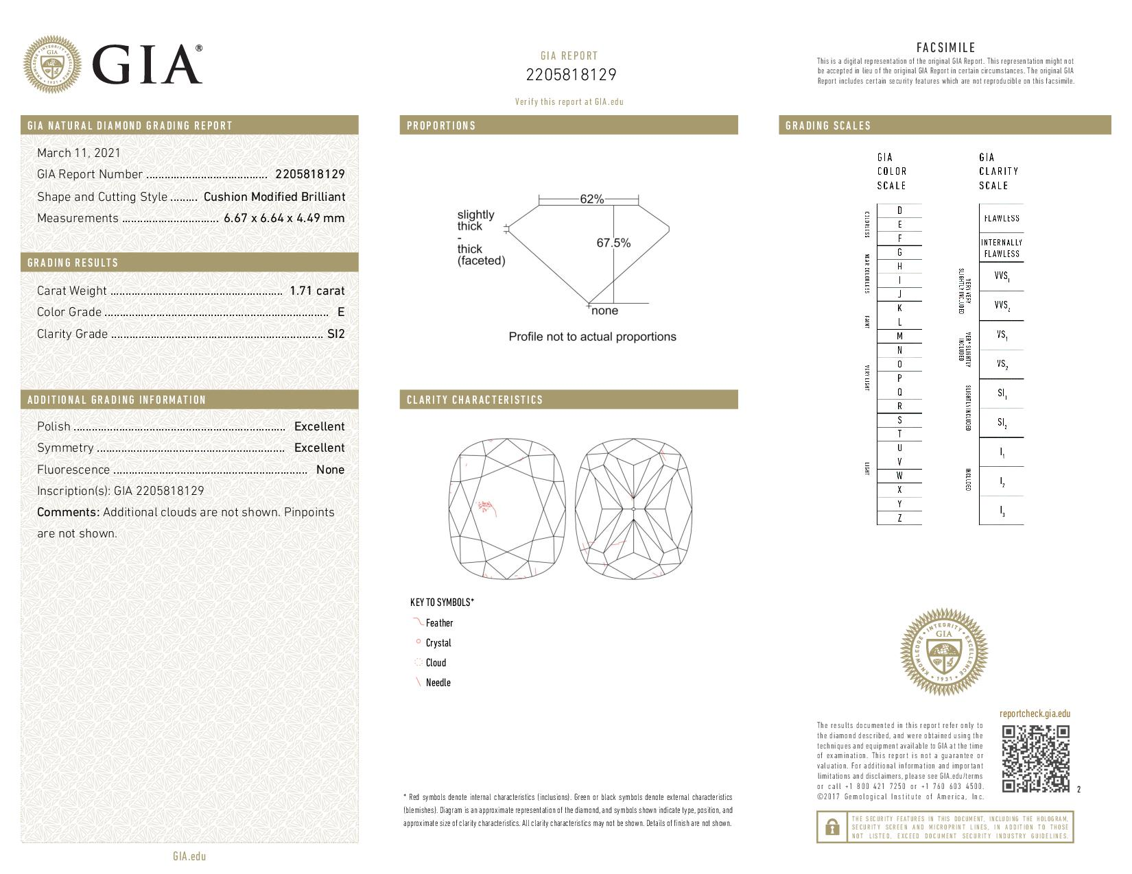 This is a 1.71 carat cushion shape, E color, SI2 clarity natural diamond accompanied by a GIA grading report.
