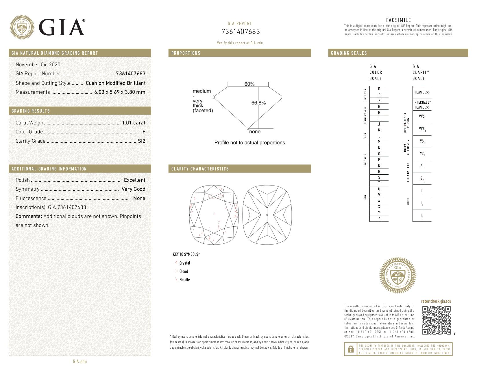 This is a 1.01 carat cushion shape, F color, SI2 clarity natural diamond accompanied by a GIA grading report.