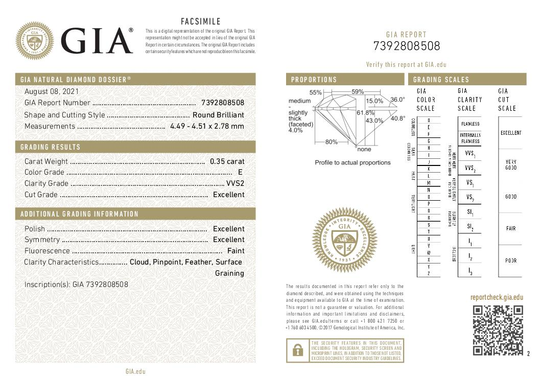 This is a 0.35 carat round shape, E color, VVS2 clarity natural diamond accompanied by a GIA grading report.