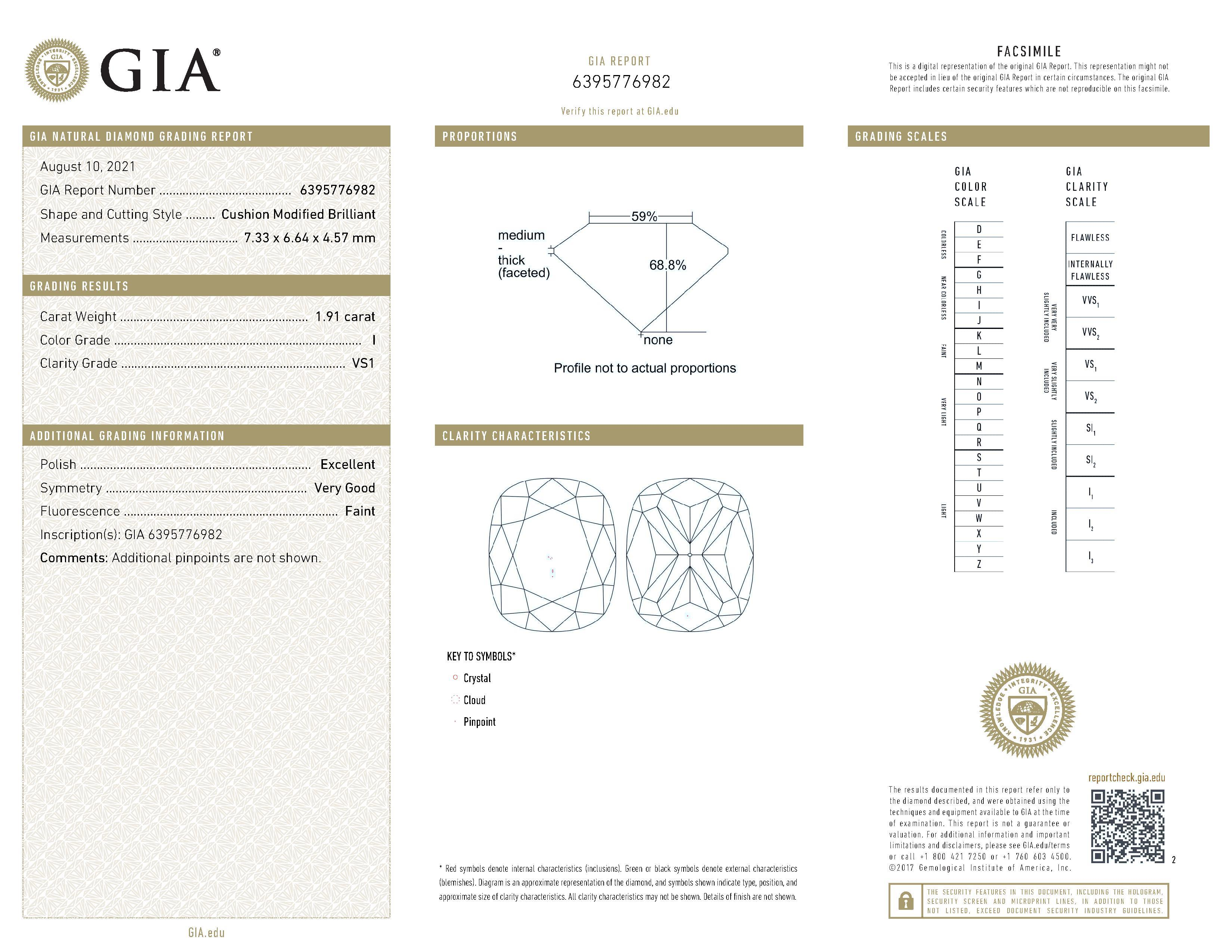 This is a 1.91 carat cushion shape, I color, VS1 clarity natural diamond accompanied by a GIA grading report.