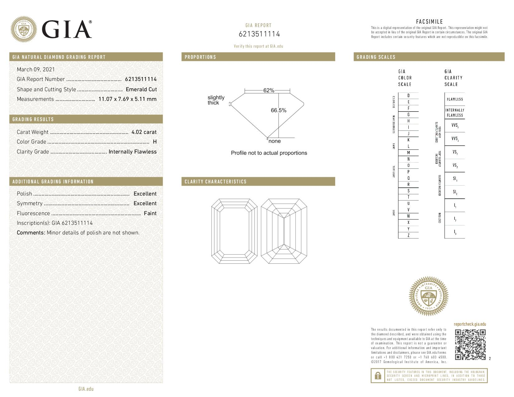 This is a 4.02 carat emerald shape, H color, IF clarity natural diamond accompanied by a GIA grading report.