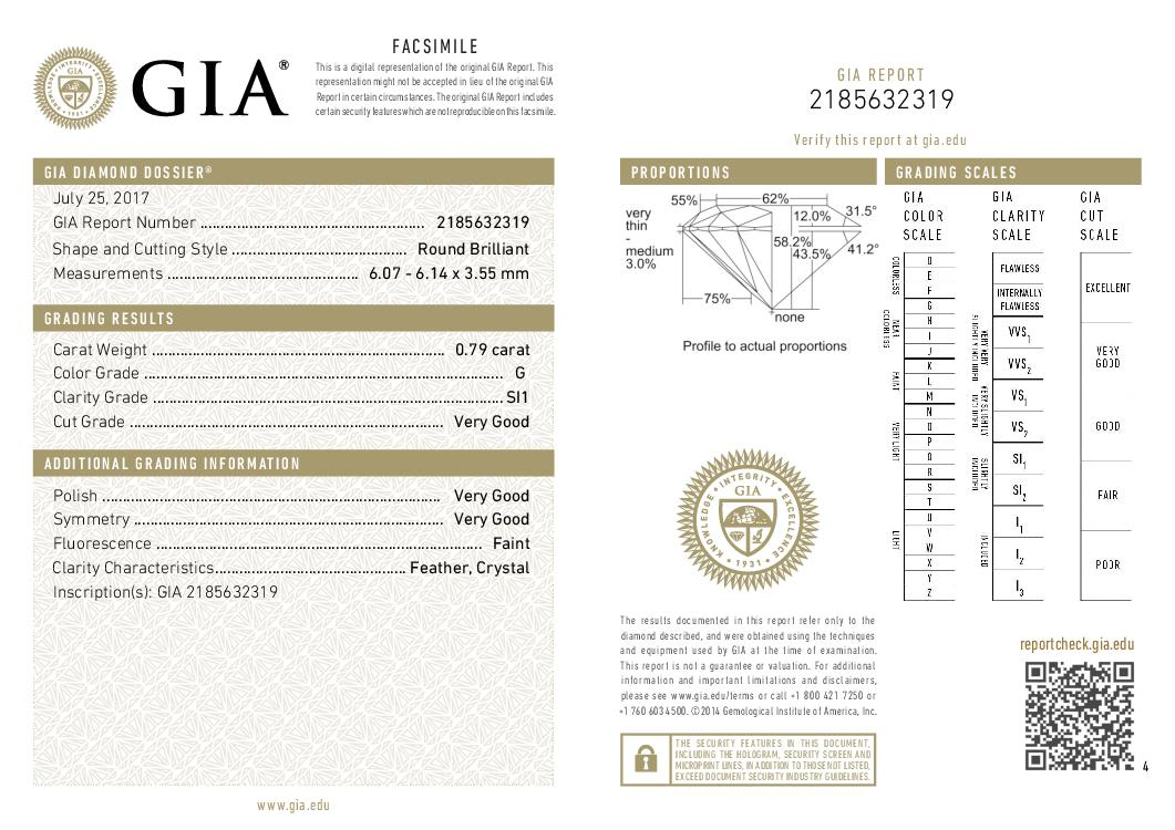 This is a 0.79 carat round shape, G color, SI1 clarity natural diamond accompanied by a GIA grading report.