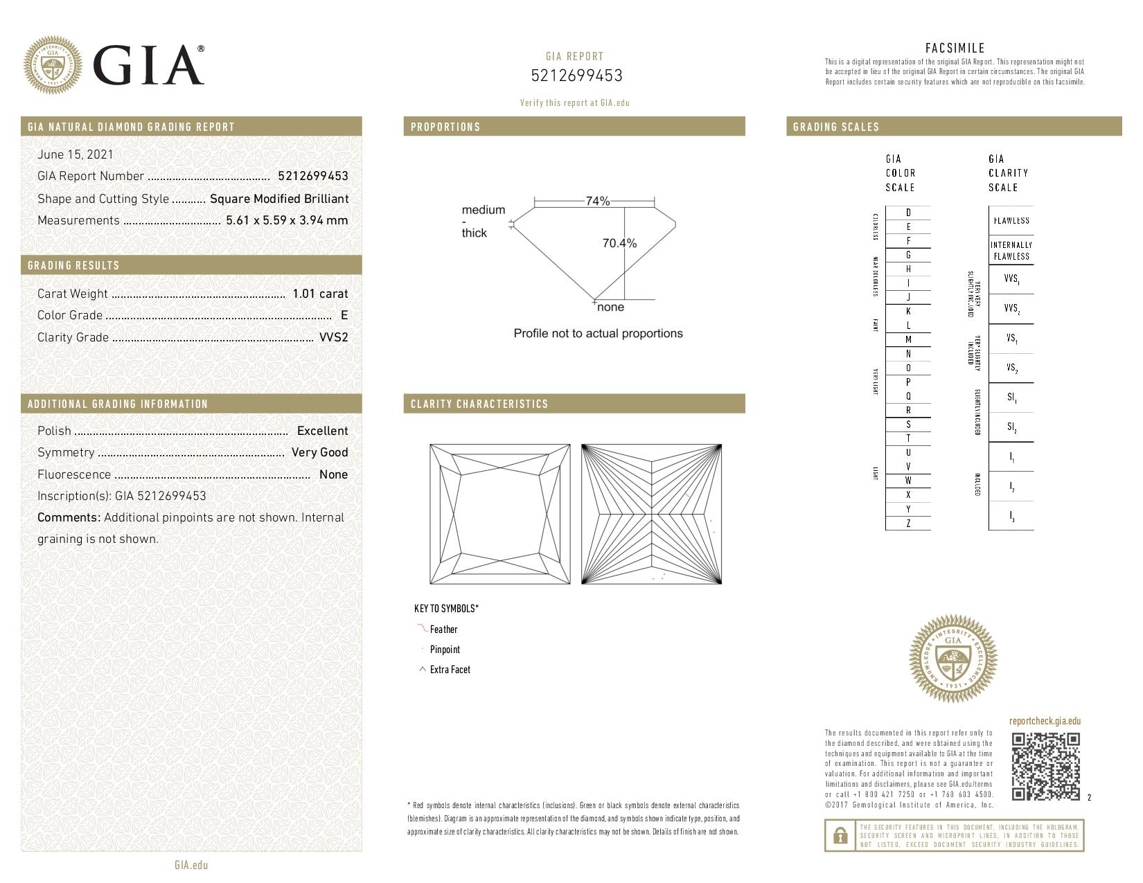 This is a 1.01 carat princess shape, E color, VVS2 clarity natural diamond accompanied by a GIA grading report.