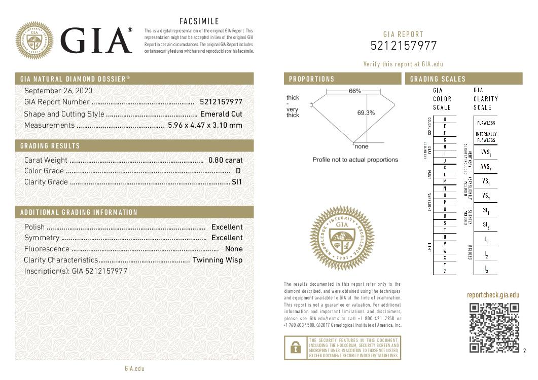 This is a 0.80 carat emerald shape, D color, SI1 clarity natural diamond accompanied by a GIA grading report.