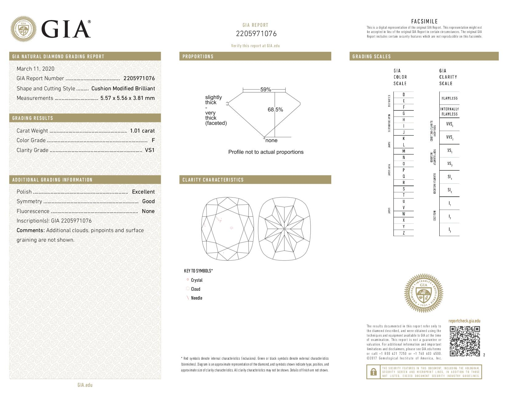 This is a 1.01 carat cushion shape, F color, VS1 clarity natural diamond accompanied by a GIA grading report.