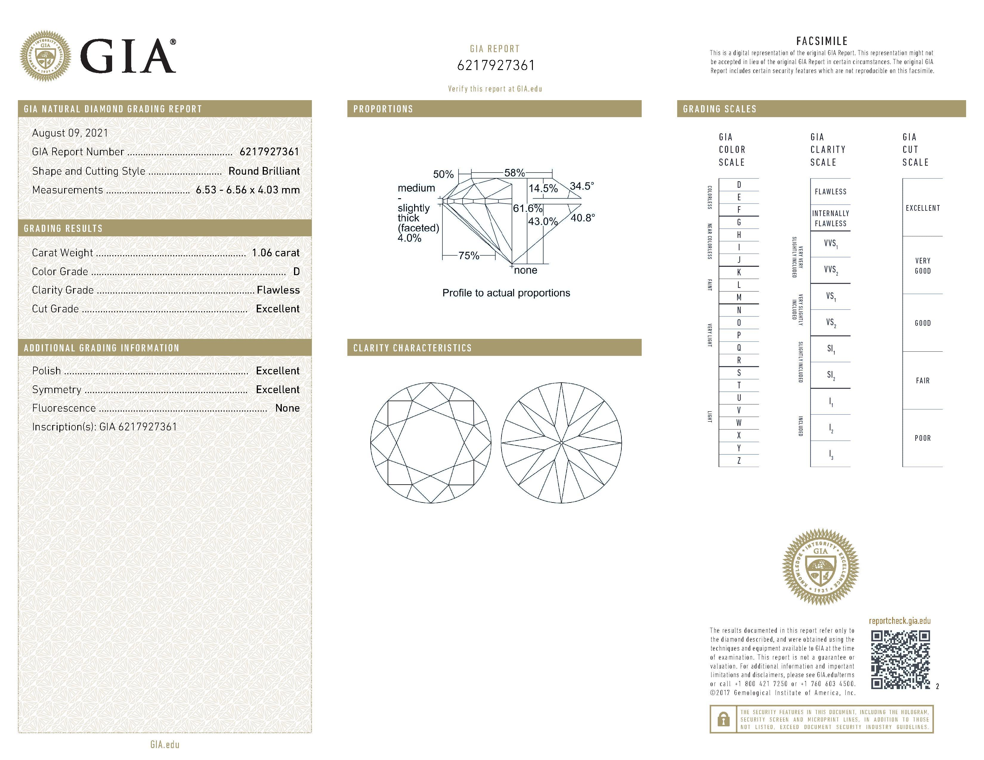 This is a 1.06 carat round shape, D color, FL clarity natural diamond accompanied by a GIA grading report.