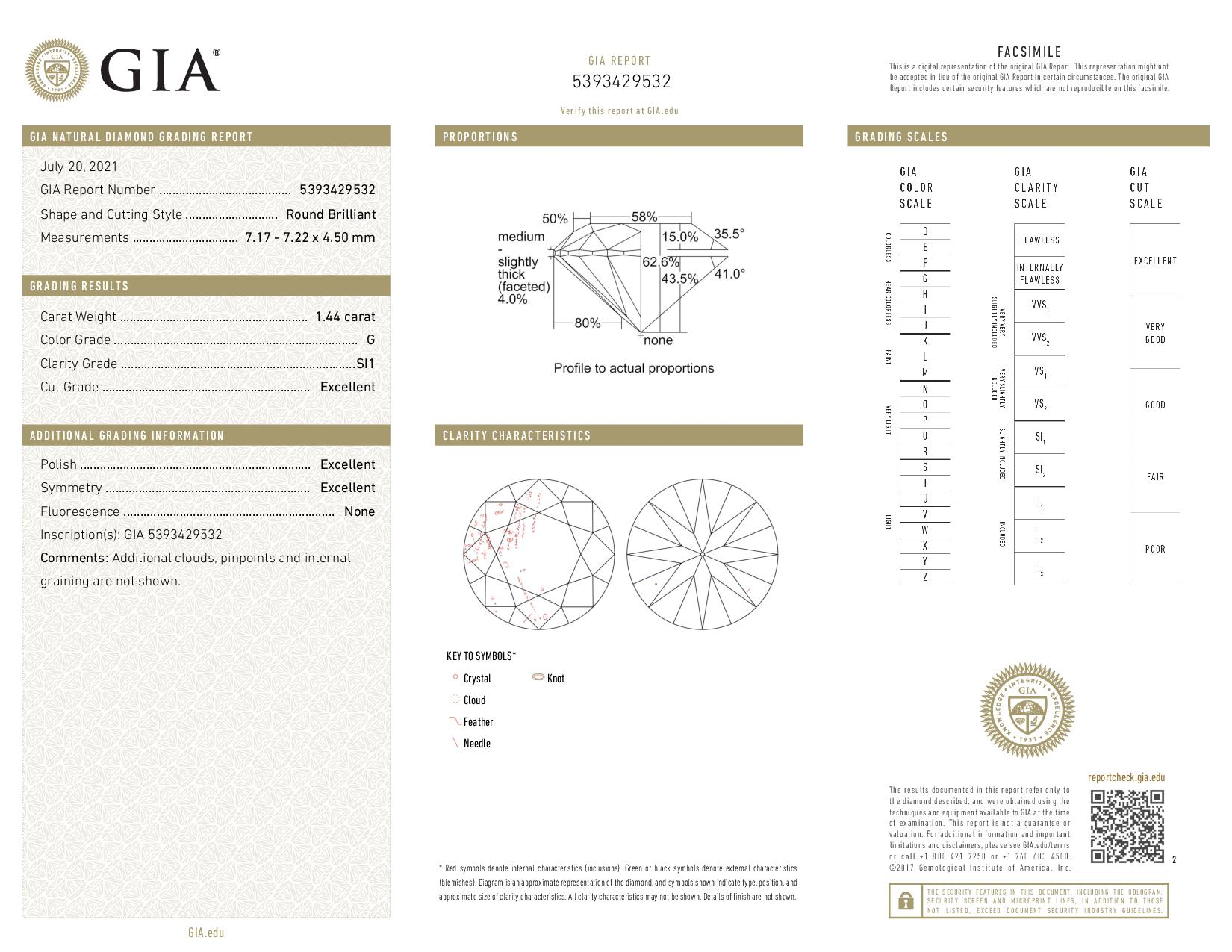 This is a 1.44 carat round shape, G color, SI1 clarity natural diamond accompanied by a GIA grading report.