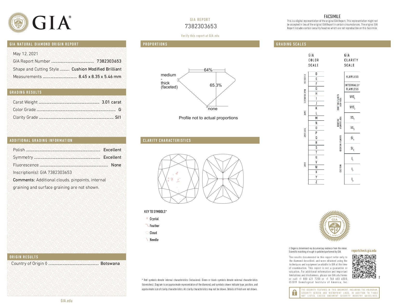 This is a 3.01 carat cushion shape, G color, SI1 clarity natural diamond accompanied by a GIA grading report.