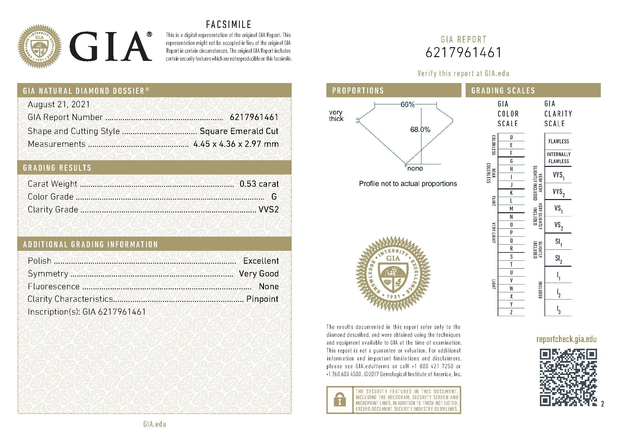 This is a 0.53 carat asscher shape, G color, VVS2 clarity natural diamond accompanied by a GIA grading report.