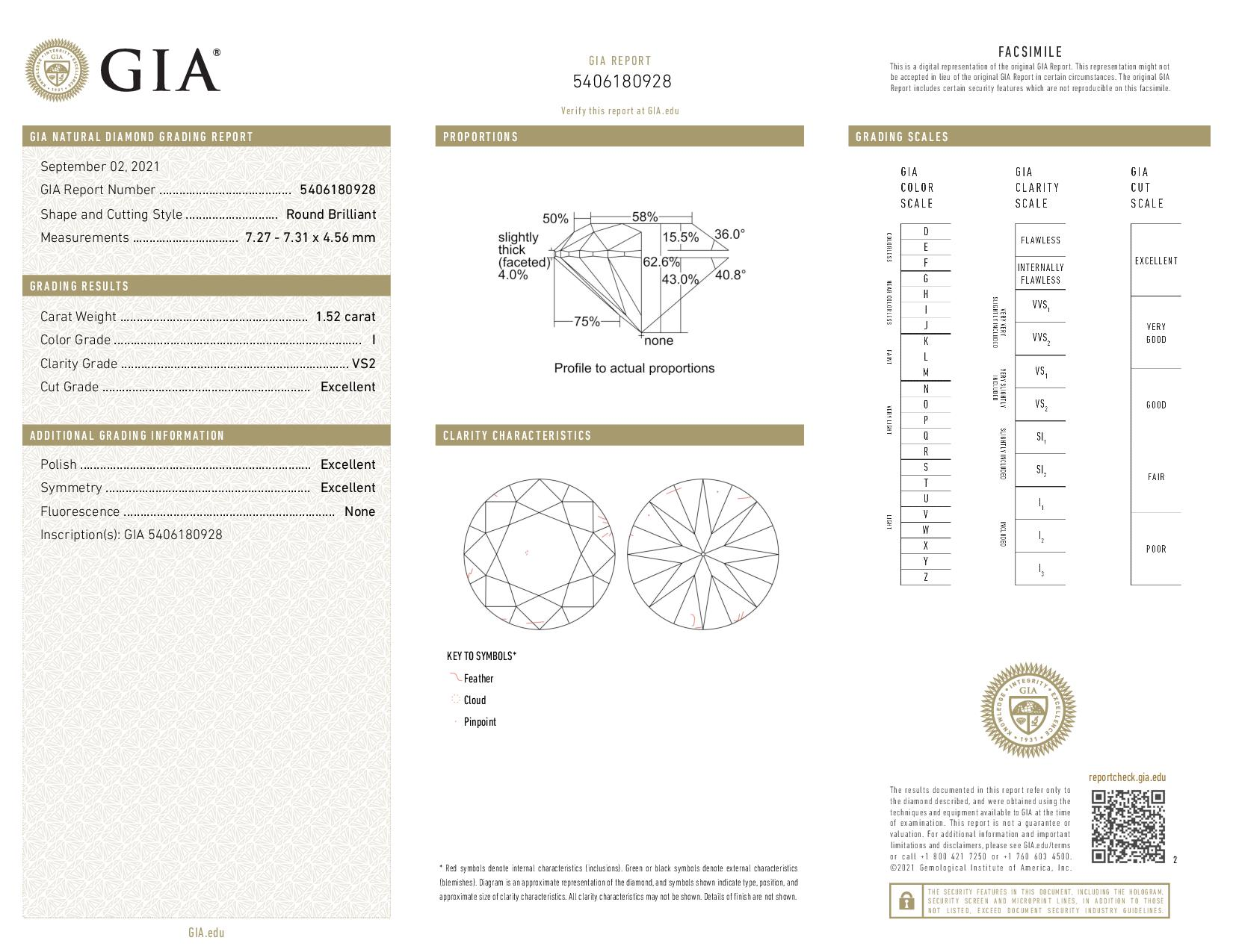 This is a 1.52 carat round shape, I color, VS2 clarity natural diamond accompanied by a GIA grading report.
