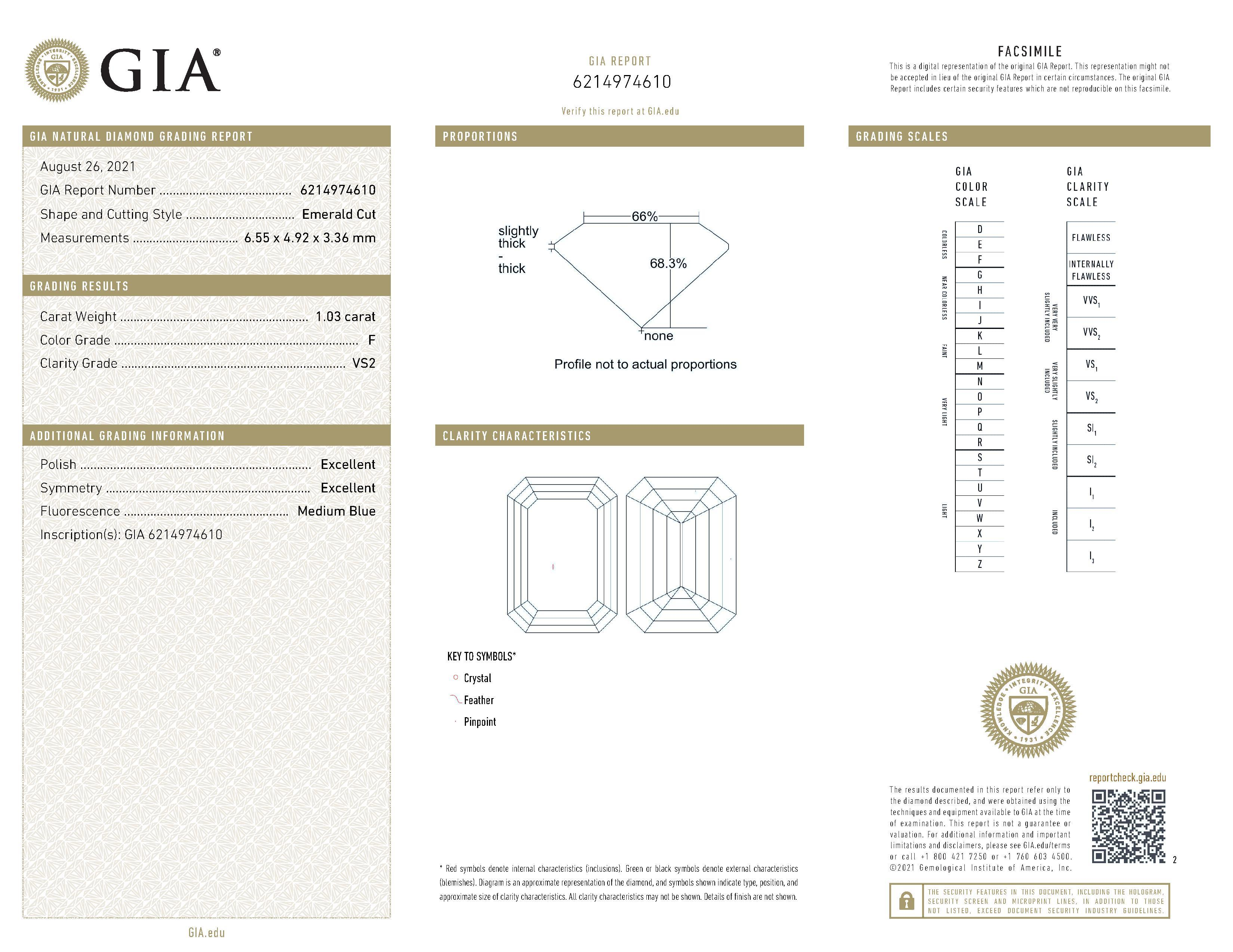 This is a 1.03 carat emerald shape, F color, VS2 clarity natural diamond accompanied by a GIA grading report.