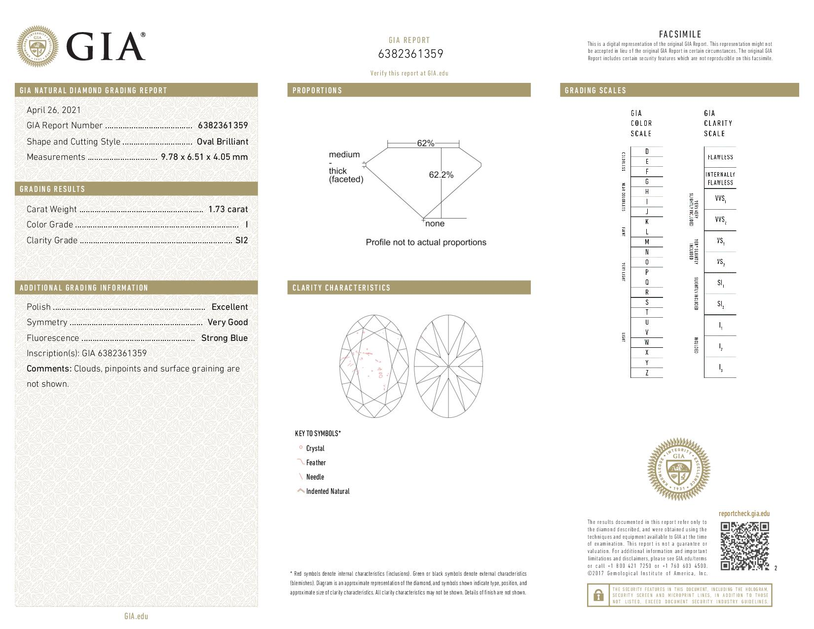 This is a 1.73 carat oval shape, I color, SI2 clarity natural diamond accompanied by a GIA grading report.