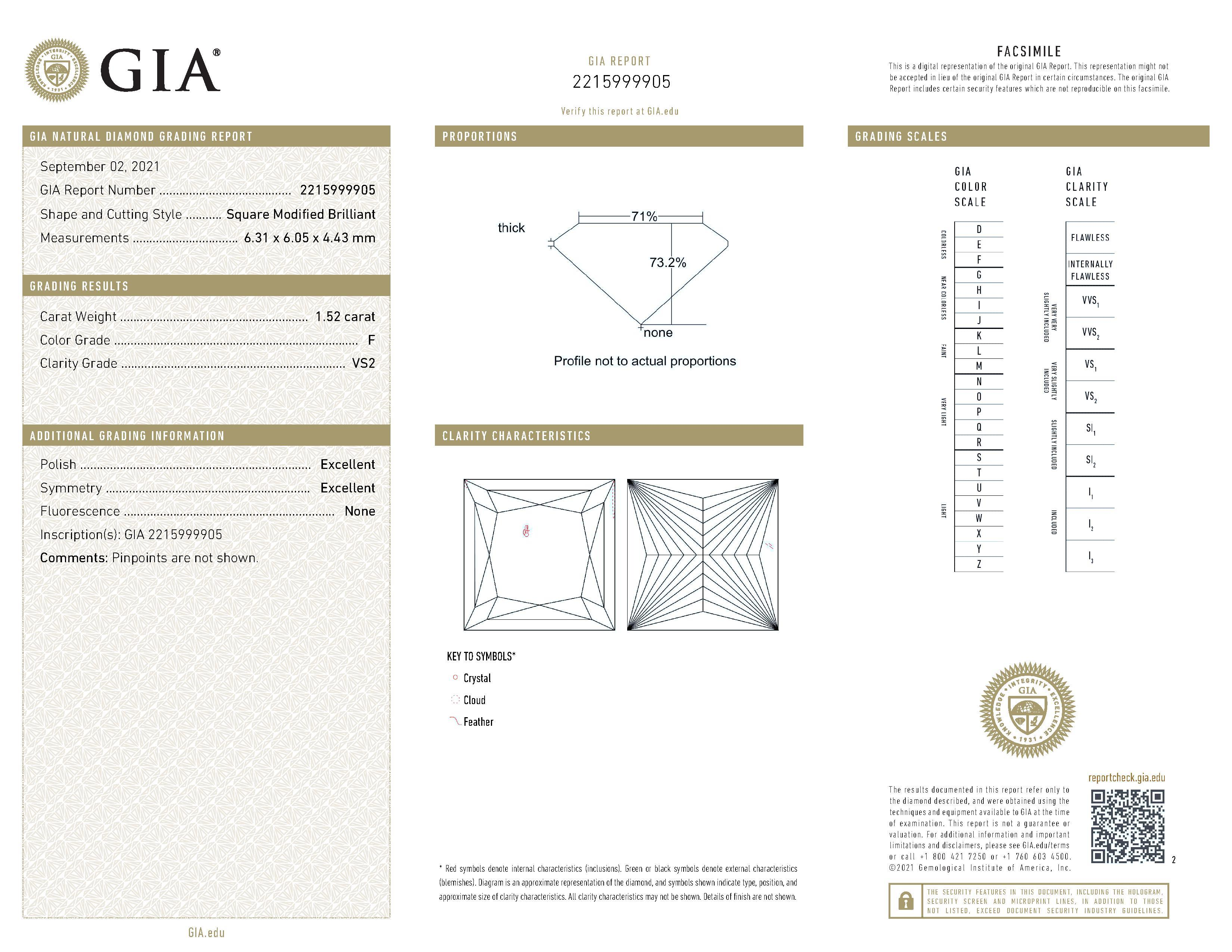 This is a 1.52 carat princess shape, F color, VS2 clarity natural diamond accompanied by a GIA grading report.