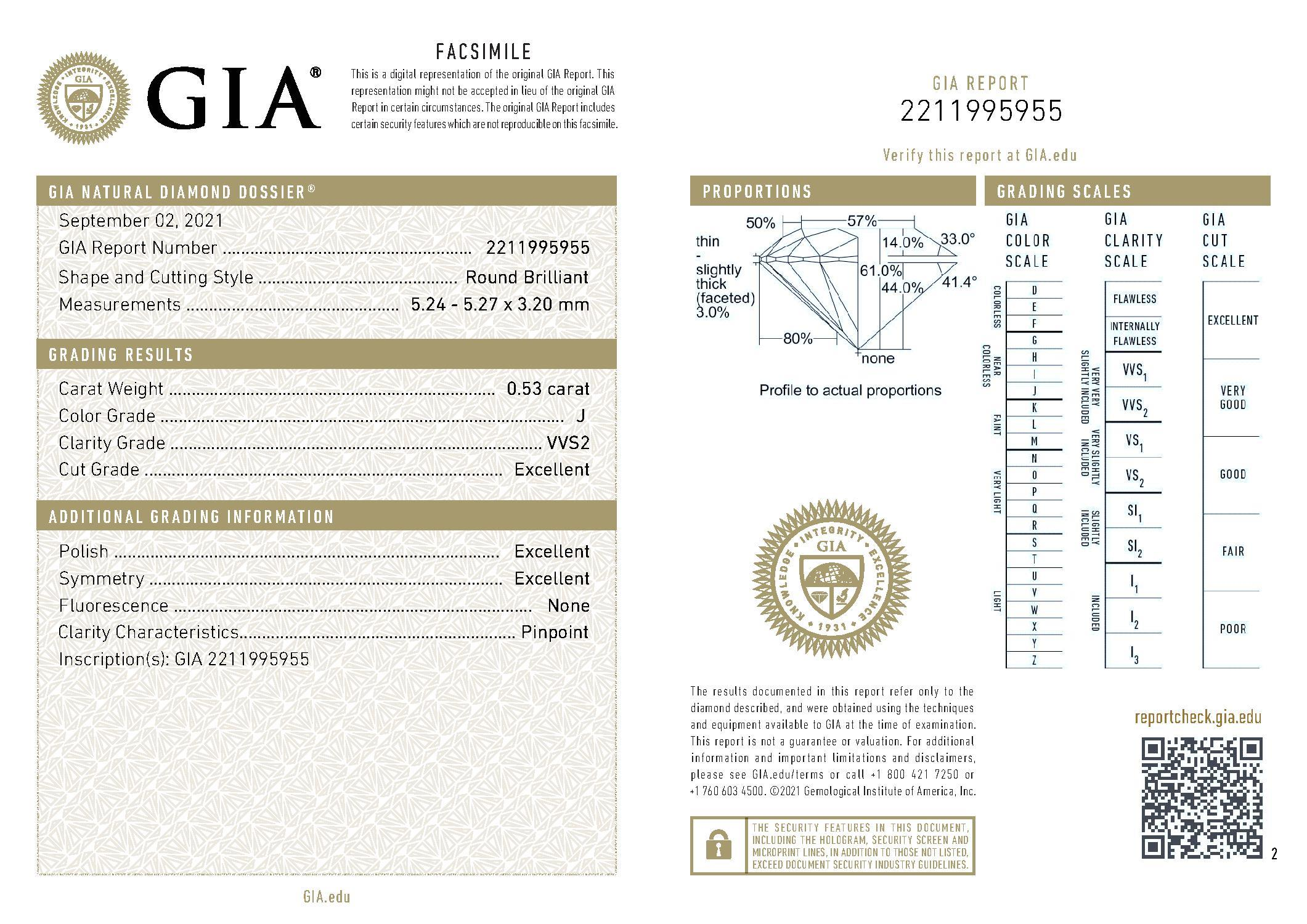 This is a 0.53 carat round shape, J color, VVS2 clarity natural diamond accompanied by a GIA grading report.
