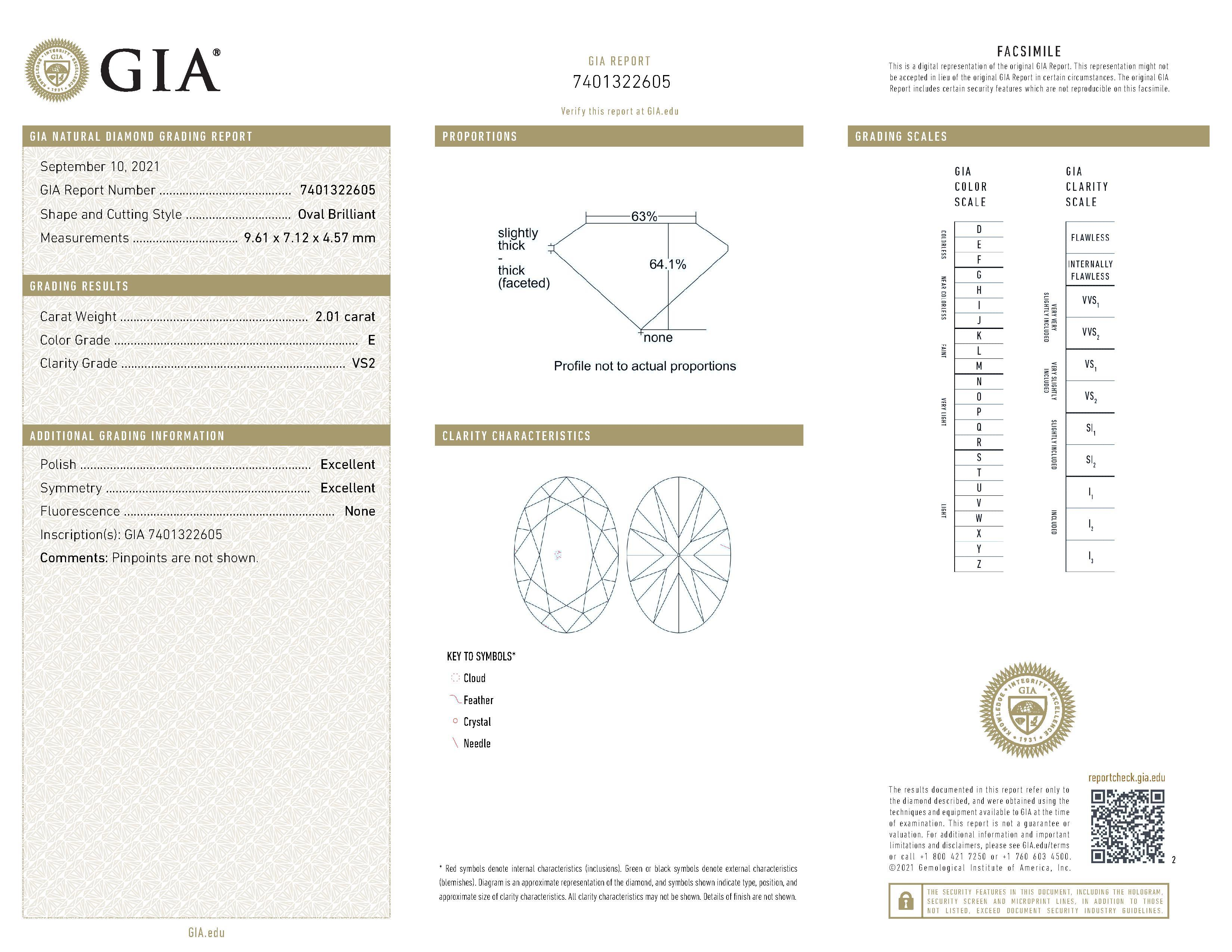 This is a 2.01 carat oval shape, E color, VS2 clarity natural diamond accompanied by a GIA grading report.