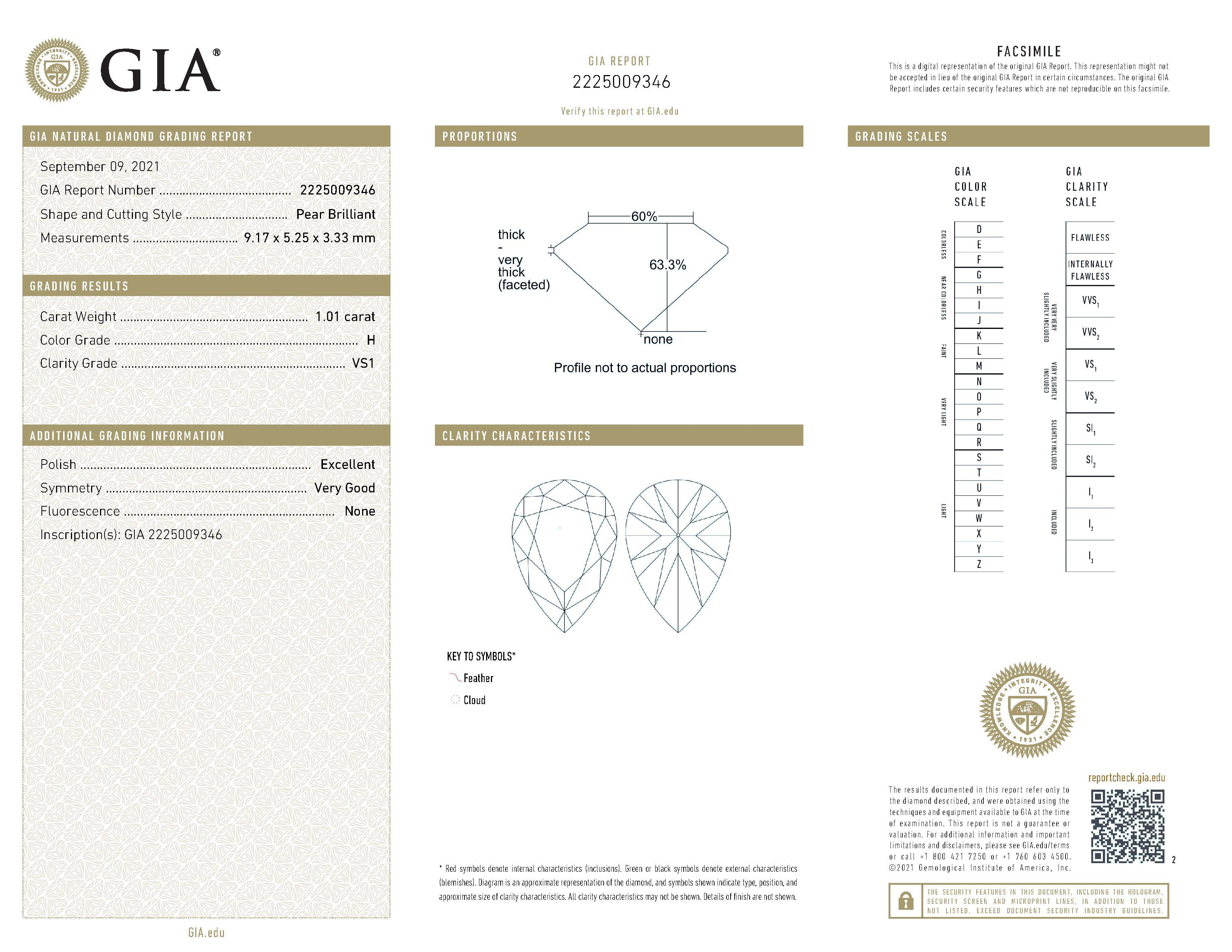 This is a 1.01 carat pear shape, H color, VS1 clarity natural diamond accompanied by a GIA grading report.