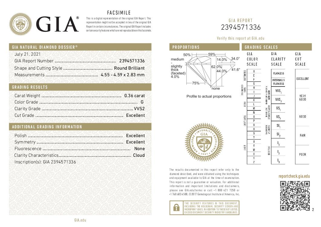 This is a 0.36 carat round shape, G color, VVS2 clarity natural diamond accompanied by a GIA grading report.