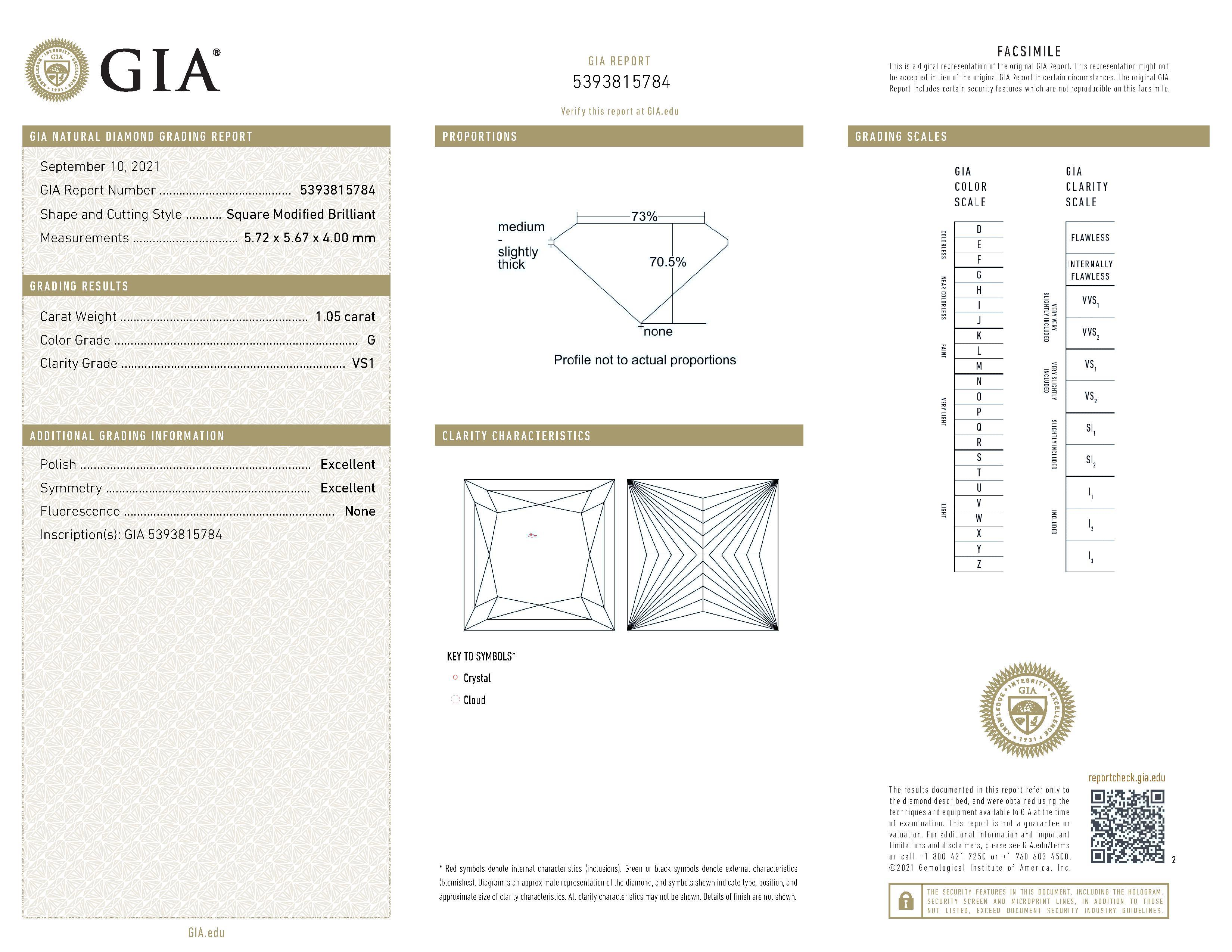 This is a 1.05 carat princess shape, G color, VS1 clarity natural diamond accompanied by a GIA grading report.