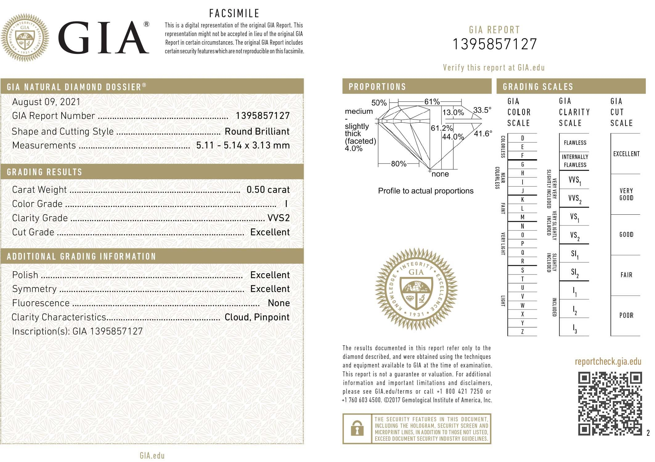 This is a 0.50 carat round shape, I color, VVS2 clarity natural diamond accompanied by a GIA grading report.
