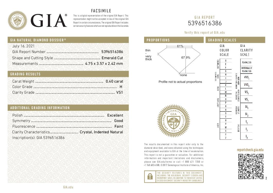 This is a 0.40 carat emerald shape, H color, VS1 clarity natural diamond accompanied by a GIA grading report.