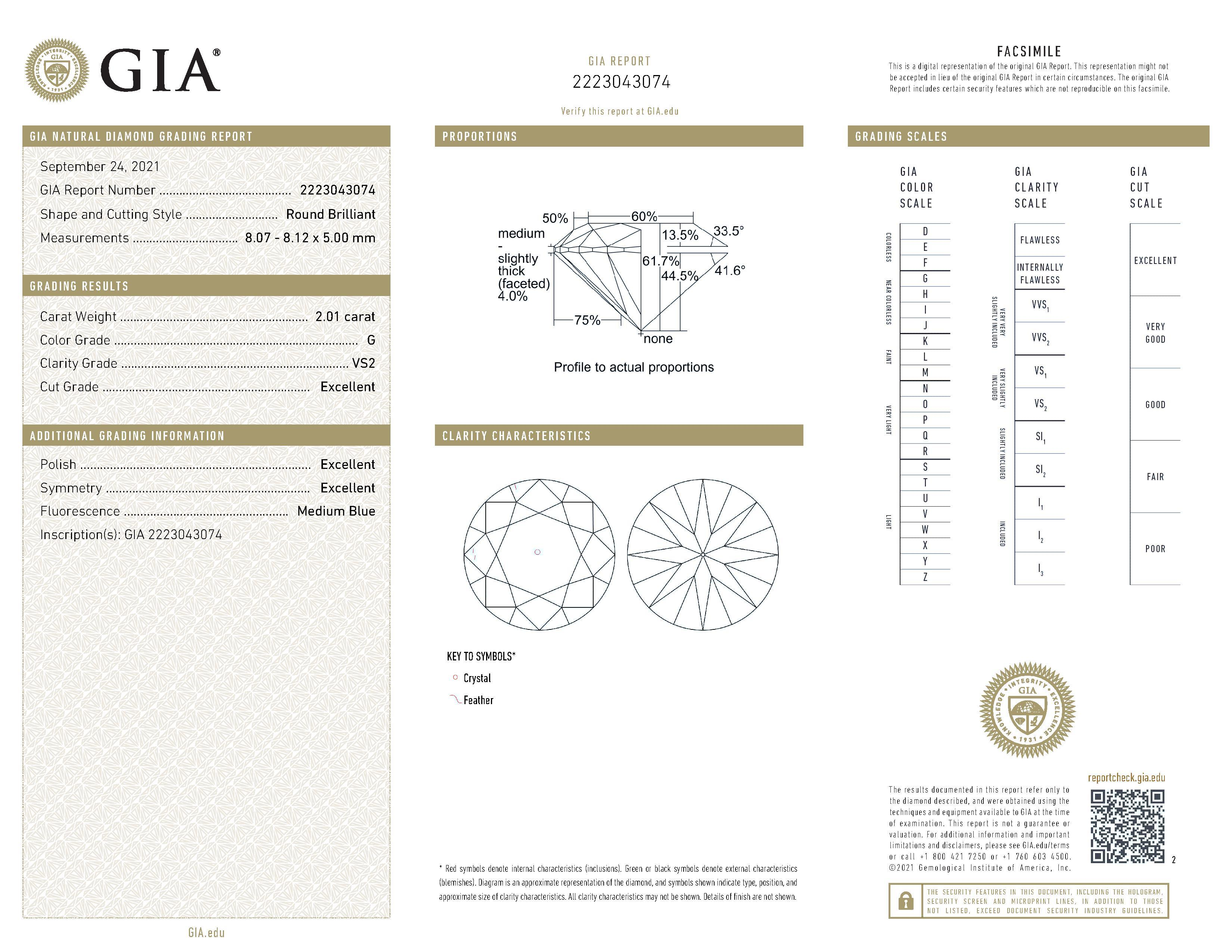 This is a 2.01 carat round shape, G color, VS2 clarity natural diamond accompanied by a GIA grading report.