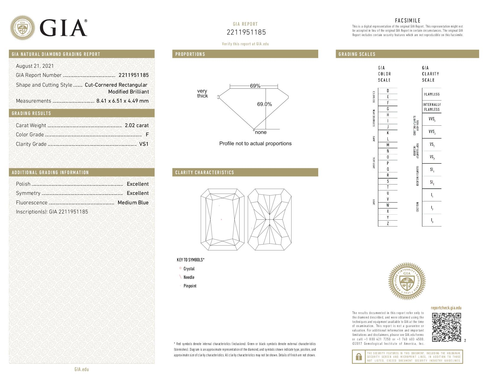 This is a 2.02 carat radiant shape, F color, VS1 clarity natural diamond accompanied by a GIA grading report.