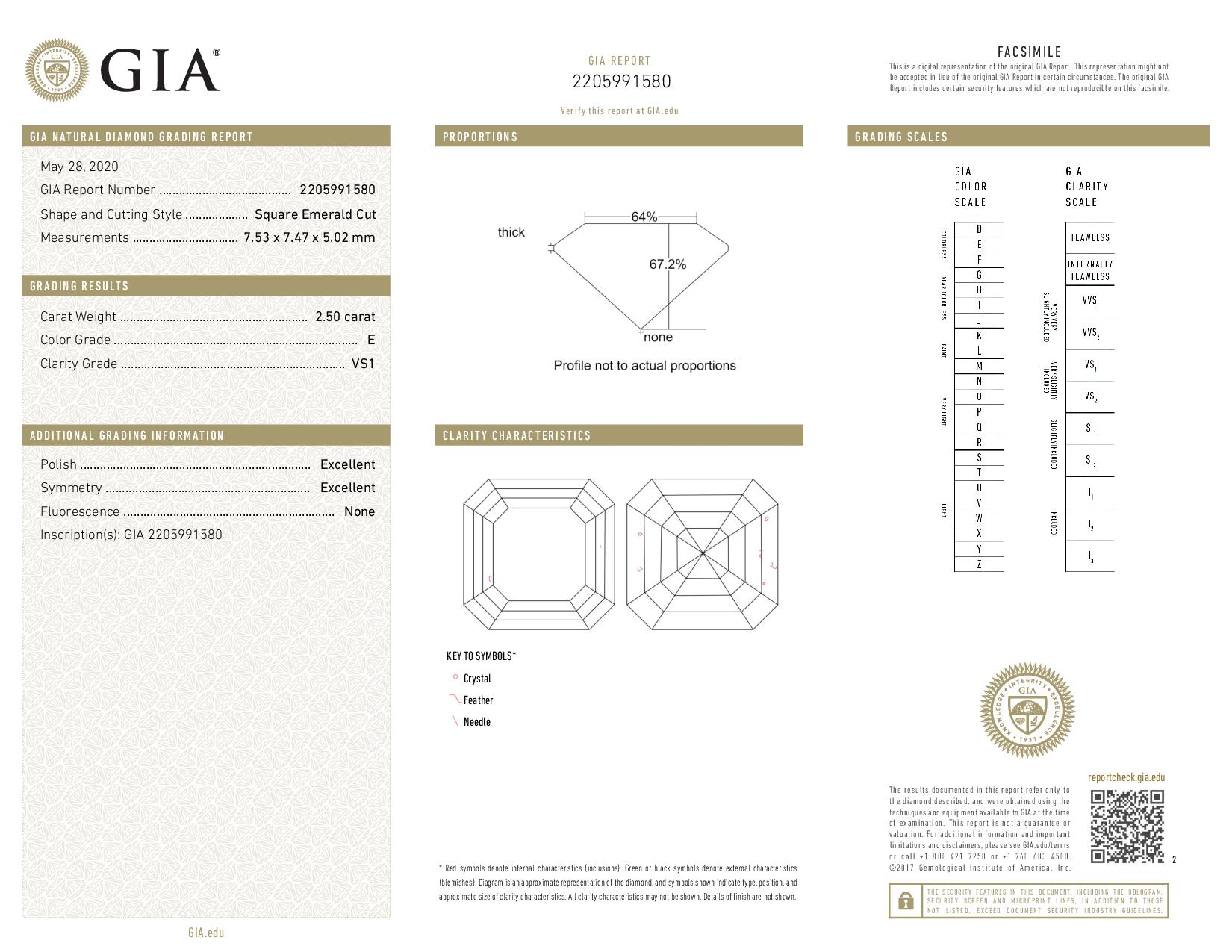 This is a 2.50 carat asscher shape, E color, VS1 clarity natural diamond accompanied by a GIA grading report.