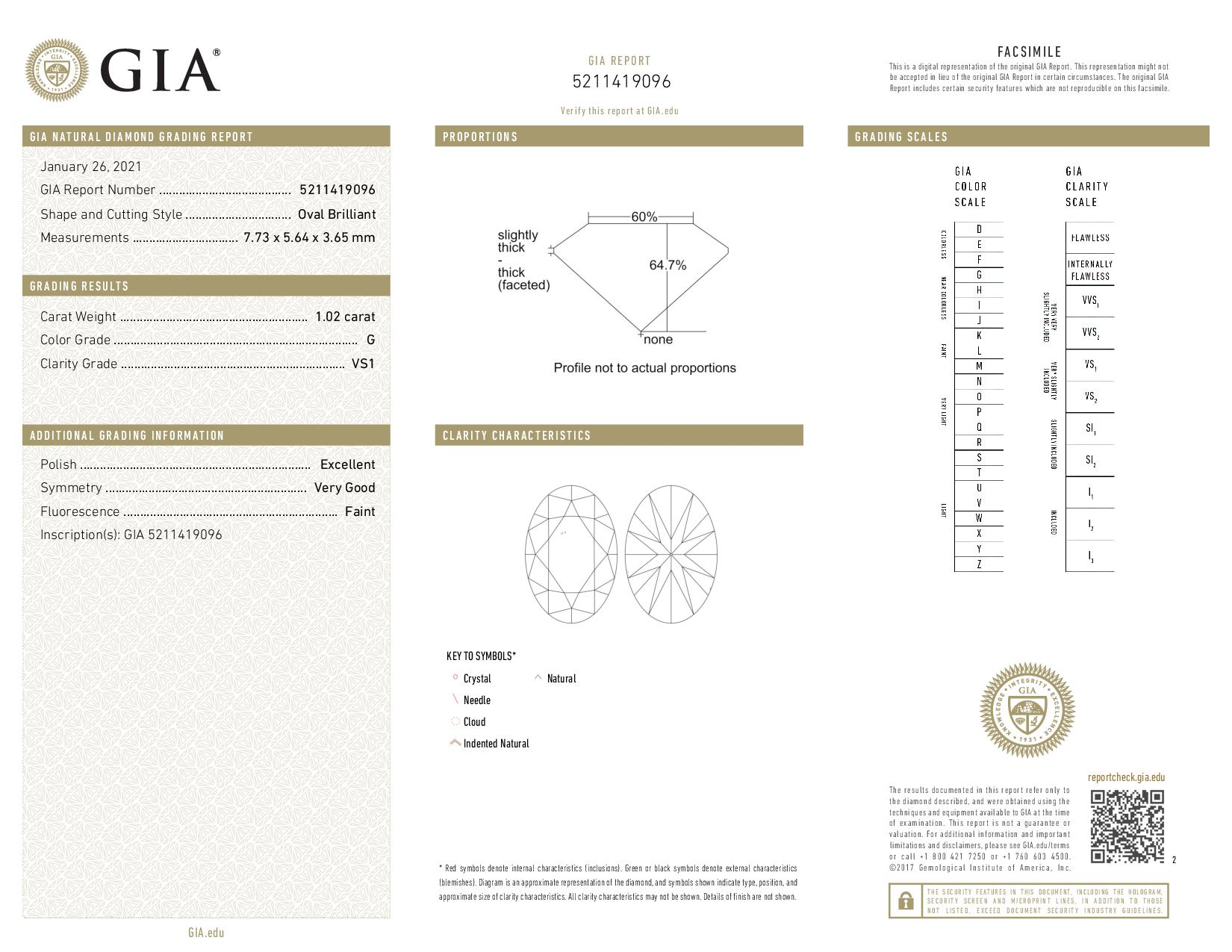 This is a 1.02 carat oval shape, G color, VS1 clarity natural diamond accompanied by a GIA grading report.