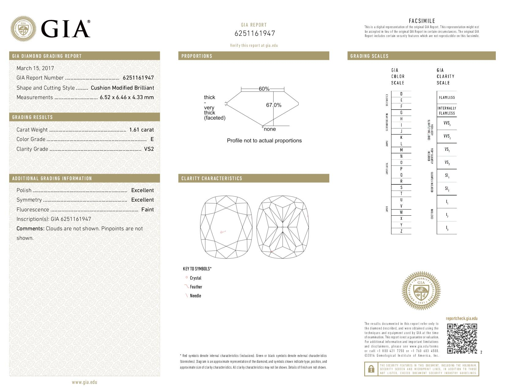 This is a 1.61 carat cushion shape, E color, VS2 clarity natural diamond accompanied by a GIA grading report.