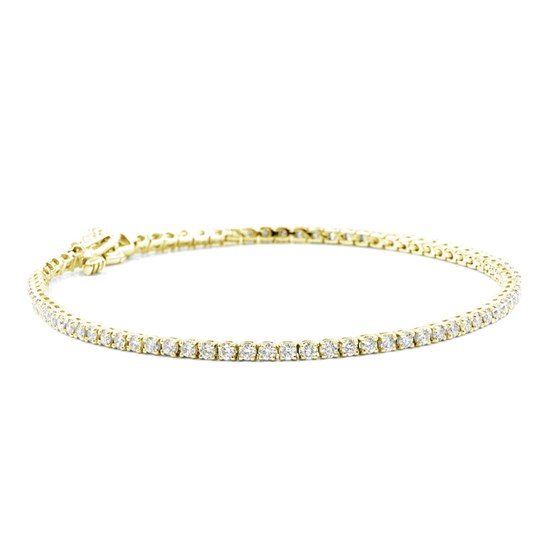 2cttw 14k Yellow Gold Diamond Tennis Bracelet