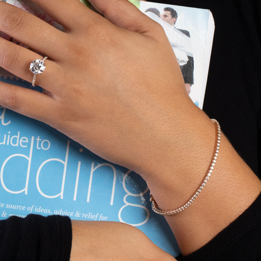 2cttw 14k Rose Gold Diamond Tennis Bracelet