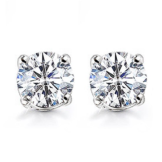 1 CT.TW. Prong Set Diamond Stud Earrings in Platinum